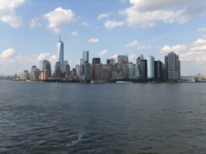 New York skyline from QM2