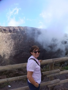 At the top of Vesuvius - rain cloud not steam from the crater!