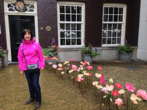 Amsterdam - flowers at hotel entrance.